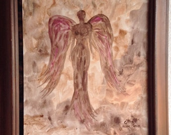 "Angel Painting Acrylic  11""x14"" canvas panel ready for framing"