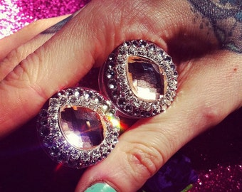 "Diva Plugs Gauge Diamonds Swarovski Rhinestones Burlesque Showgirl Wedding Bridal Glamour Elegant Party ""Stellar Noir"""