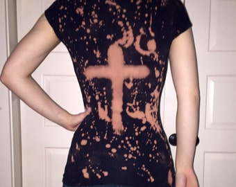 Distressed cross shirt