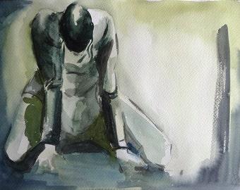 "Figurative art, Original watercolor painting, fall of man. Monochromatic, Size 13.8"" x 19.7"". Cotton paper ""Guarro"" 240 gr/m2. Made in Chile"