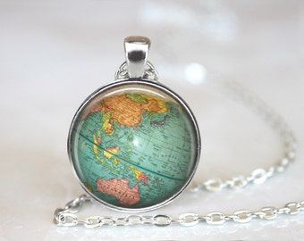 Earth Necklace, Earth Jewelry, Globe Necklace, Globe Jewelry, Earth Pendant, Earth Globe Necklace