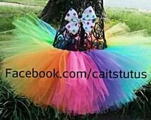 rainbow tutu, clown tutu, colorful tutu, birthday tutu, bright tutu, rainbow birthday tutu, birthday tutu, tutu bow set, rainbow tutu set