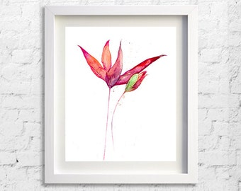 Red flower painting watercolor original print magnolia, flower illustration botanical art - 113