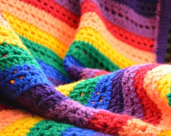 Rainbow Stripy Crochet Blanket
