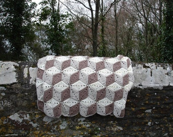 Double bed crocheted Afghan - Tumbling Blocks