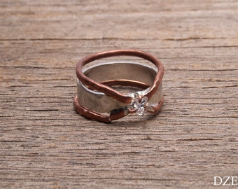 Handmade sterling silver and copper ring with white zircon