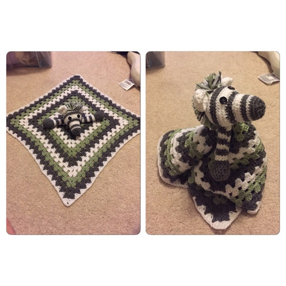 Crochet zebra security blanket by LittleGattsCrochet on Etsy
