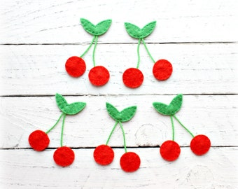 Cherry felt appliques, Set of 5, Craft supplies, Handmade felt appliques