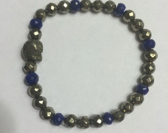 Pyrite Skull Bracelet w Royal Blue Beads