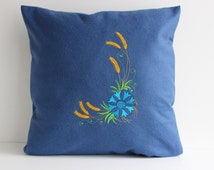 Blue Pillow Cover, Throw Pillow 16x16 inch, Decorative Pillow, Fleese Shams with Cornflower Embroidery, Handmade Cottage Cushion