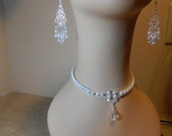 Beading4Bling wedding choker and earring set.