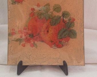 Center tray square glass, decorative plate, dish, Decopage, Home decor