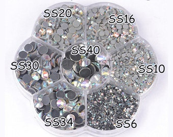 FRS60A Mix 7 Sizes Crystal AB Flatback Rhinestones DMC Hotfix Rhinestones For Garment Accessories