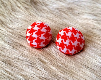 Vintage Inspired Fabric Button Earrings