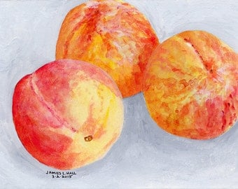 Three Peaches Painting, Fruit Painting, Kitchen Art, Small Format Art, Acrylic Painting