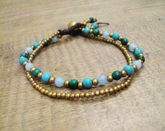 4mm Turquoise bracelets,Jasper bracelets,Beadwork bracelets,Brass bracelets