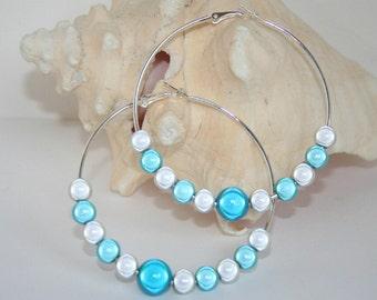 Large miracle beaded hoop earrings