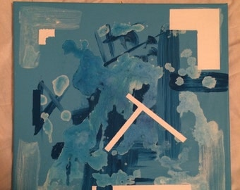 Abstract blue and white canvas