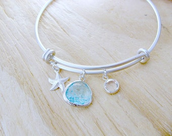 aquamarine bangle aquamarine bracelet birthstone bangle starfish swarovski birthstone personalized bangle bridesmaid gifts beach wedding