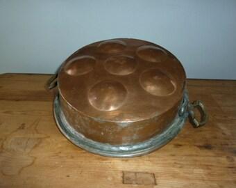 Antique Danish Copper Abeleskiver pan for Fritters, Fruit, for Baked Apple or cake pan.