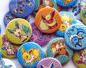 """9 """"Eeveelution"""" pin back badges"""