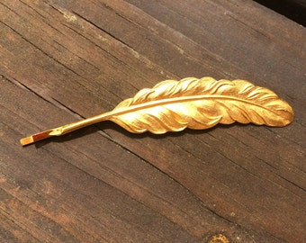 Gold Feather Hair Clip Feather Bobby Pin Feather Hair Pin Gold Feather Barrette Woodland Wedding
