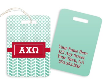 AXO Alpha Chi Omega Geometric Sorority Luggage Tag