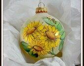 Sunflower Ornament, Bee Ornament, Yellow Green, Display all Year, Sunflower Trio, Free Inscription, Bright Floral, Bee