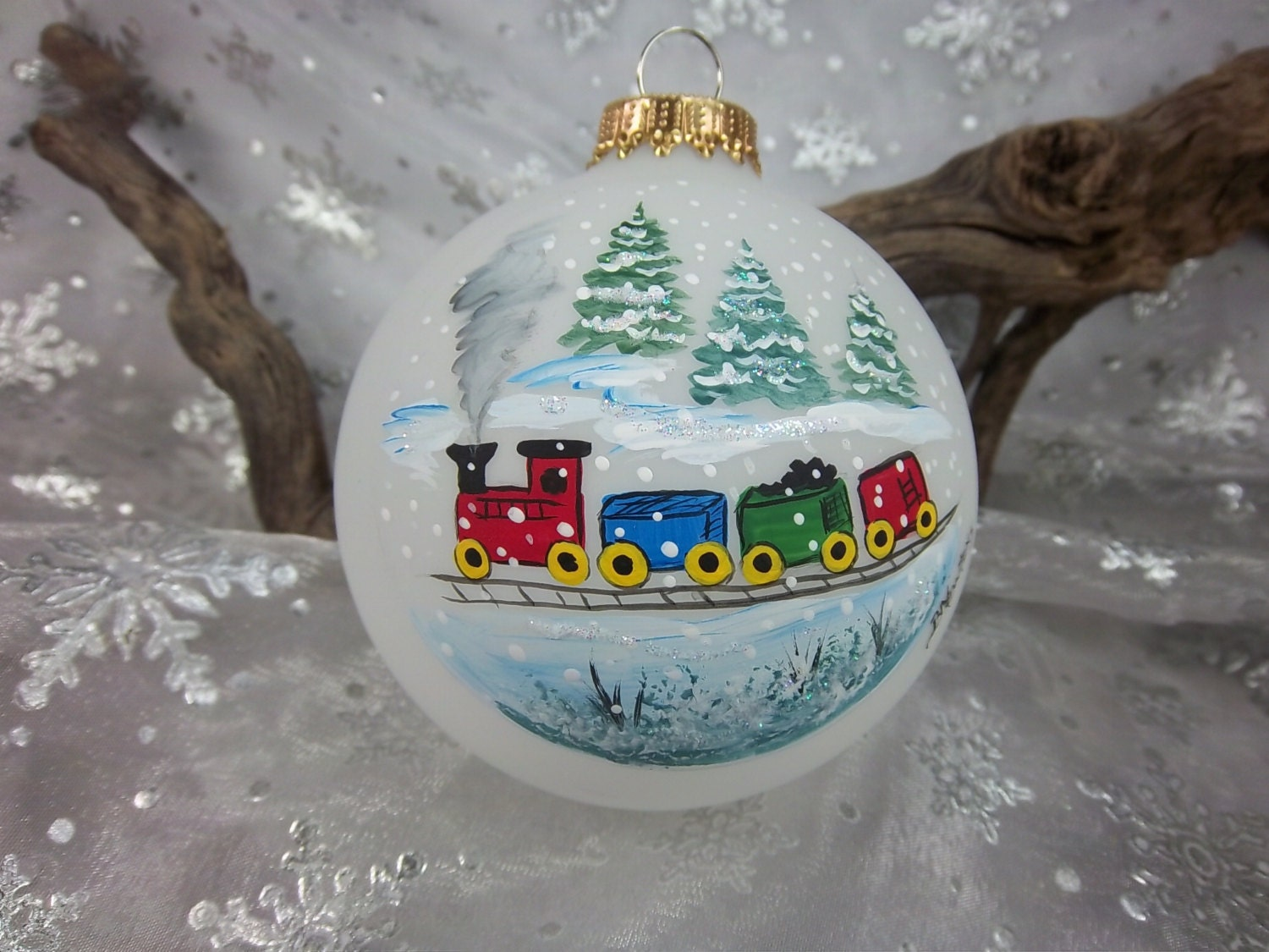 Train ornament christmas colorful by