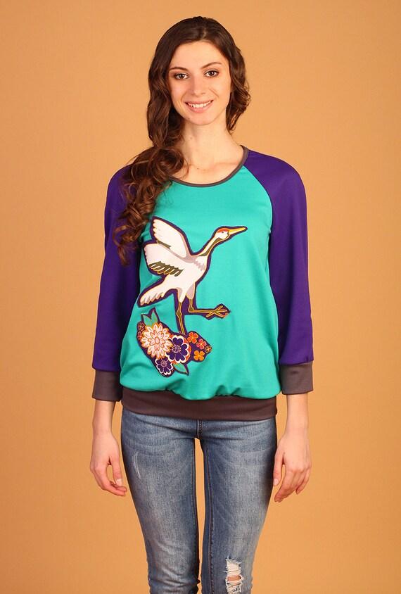 Women 39 s t shirt mint color purple flowers crane by dezulastore for Mint color t shirt