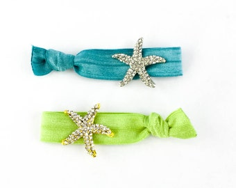 Starfish Hair Tie Package - 2 Rhinestone Elastic Hair Ties that Double as Bracelets