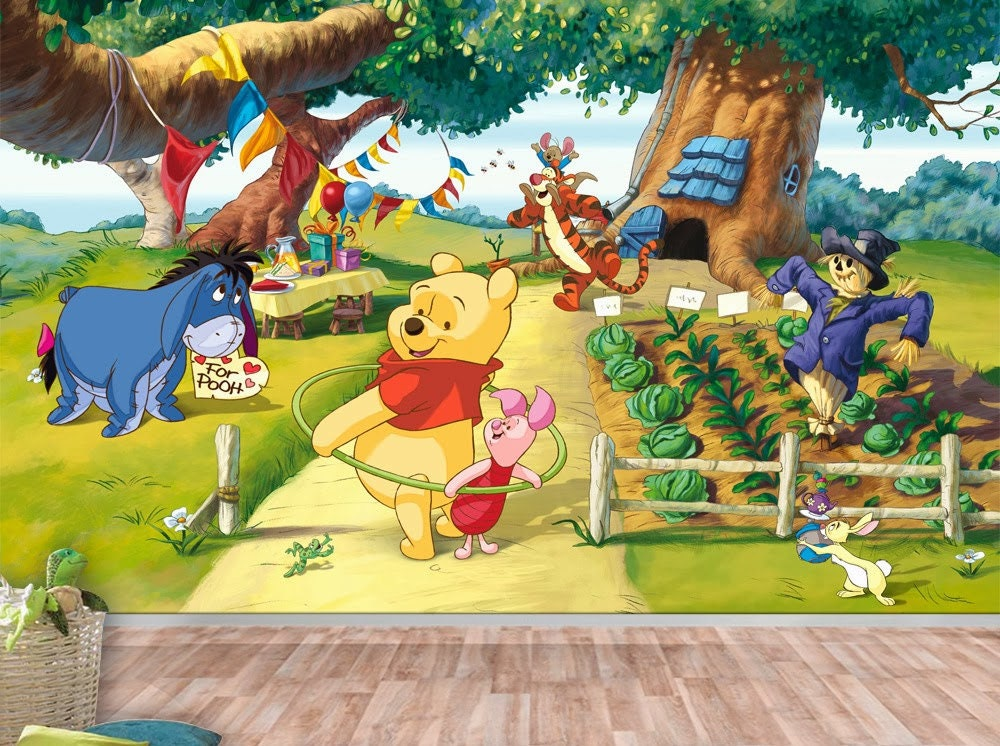 winnie the pooh wall mural wallpaper wall d cor wall decal. Black Bedroom Furniture Sets. Home Design Ideas