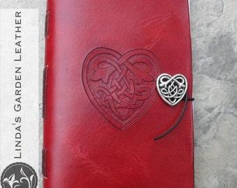 Handmade Leather Celtic Heart Journal or Sketchbook