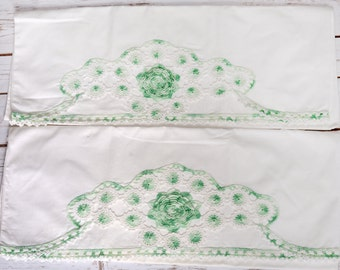 Pair of Antique Crochet Pillowcases, White with Green & White Crochet Trim. Vintage from 1950's-1960's