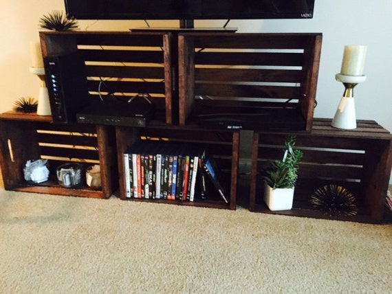items similar to wood crate tv stand on etsy. Black Bedroom Furniture Sets. Home Design Ideas