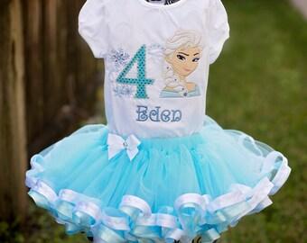 Custom Personalization Elssa Frozen Birthday Tutu Set Onesie Blue White