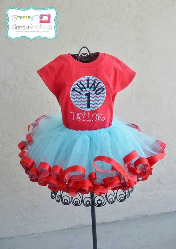 Dr Suess Thing 1 Thing 2 Custom Birthday Outfit Tutu Shirt Set