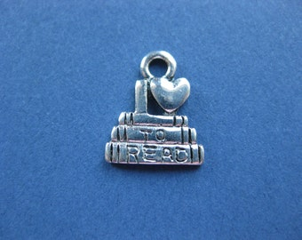 10 I Love To Read Charms - I Love To Read Pendants - I Love To Read - Studying Charm - Antique Silver - 14mm x 12mm -- (H5-10380)