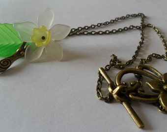 Spring Goddess Necklace in Antique Bronze ~ Ostara, Narcissus, Daffodil, Goddess Jewelry