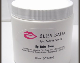 Organic Lip Balm Base 16 oz Unsweetened, All Natural, Make your own lipbalm, lotion bars, foot balm DIY supplies Bliss Balm