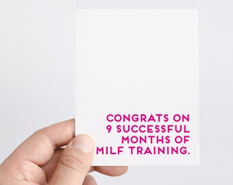 MILF | Funny New Baby Card | Baby Shower Card | New Mom Card | Funny Pregnancy Card | MILF Baby Card | Congratulations Pregnant