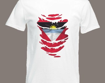 Antigua Flag T-Shirt  see Muscles through Ripped T-Shirt in all sizes