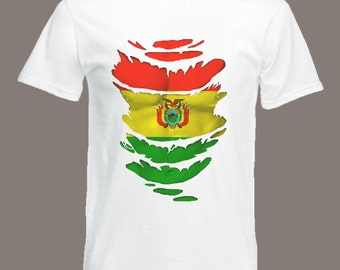 Bolivian Flag T-Shirt  see Muscles through Ripped T-Shirt in all sizes