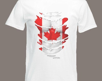 Canadian Flag T-Shirt  see Muscles through Ripped T-Shirt Canada in all sizes