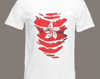 Hong Kong Flag T-Shirt see Muscles through Ripped T-Shirt  in all sizes