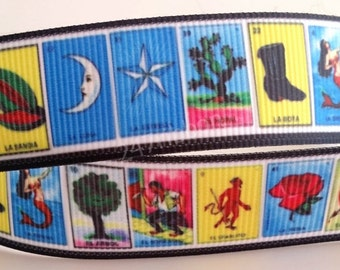 "Mexican Game Lottery La Loteria Inspired Printed Grosgrain Ribbon 7/8"" Wide 247175"