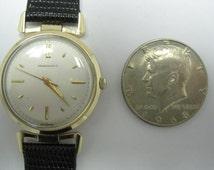 Vintage Carrington & Co. Mens 14K Yellow Gold Watch, 17 Jewel Manual Wind Mechanical Wristwatch, Sears Roebuck And Co. Circa 1960's