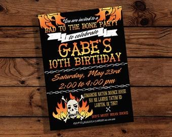 Skull and Flames Birthday Invitation