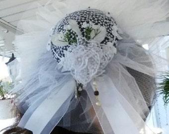 OOAK White Victorian Hat Headband