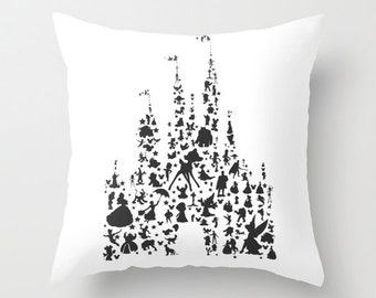 disney castle characters.. throw pillow with insert